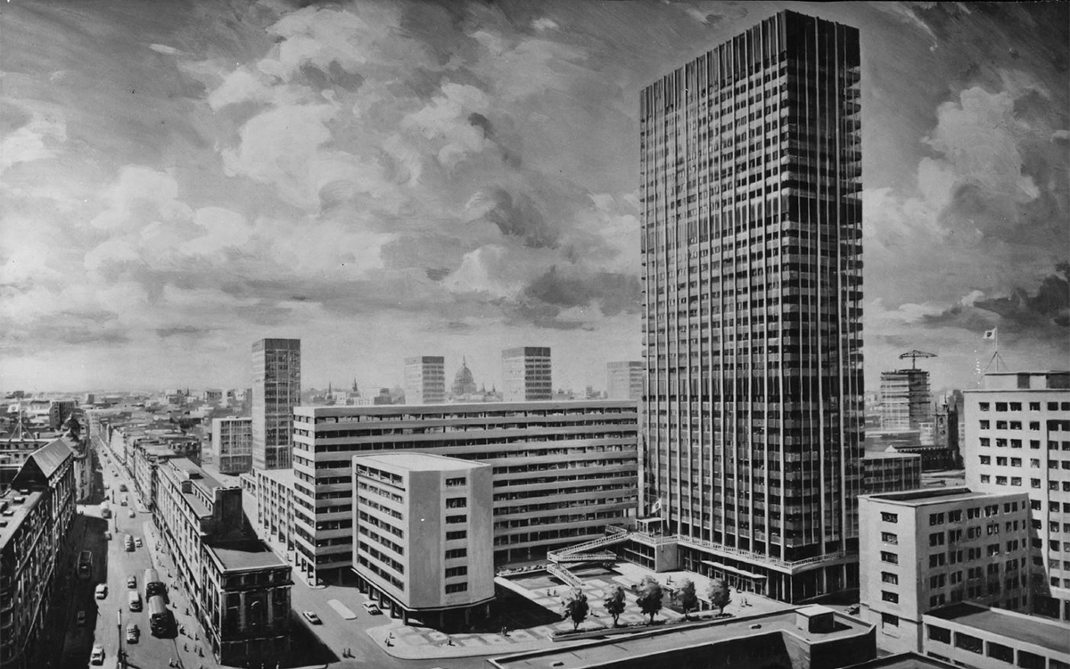 The first major office project to be equipped with Delmatic's innovative Linked lighting System was BP's new headquarters, Britannic House, in the early 1960s